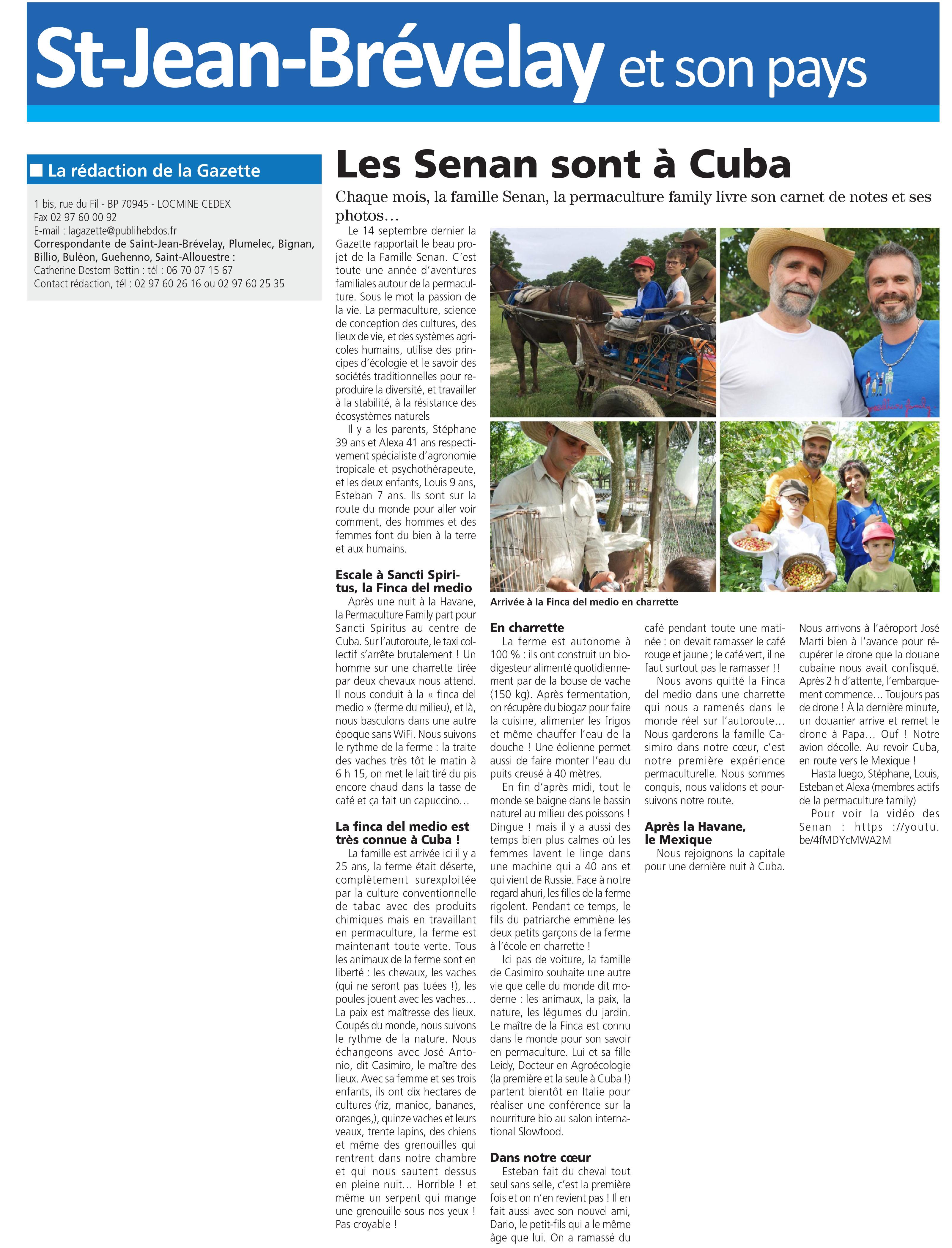La Gazette Centre Morbihan : le rendez-vous mensuel des aventures de la Permaculture Family – Cuba