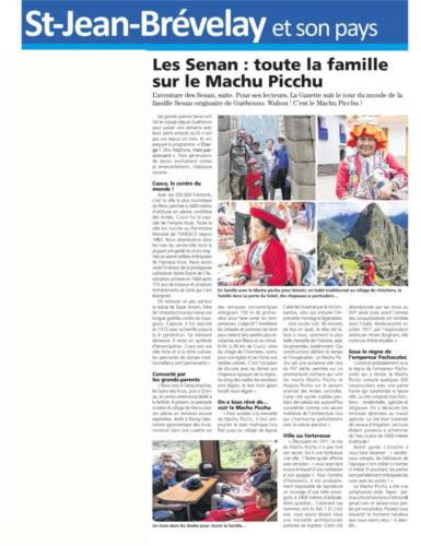 Article La Gazette PF Machu Picchu, Pérou 29.03.19