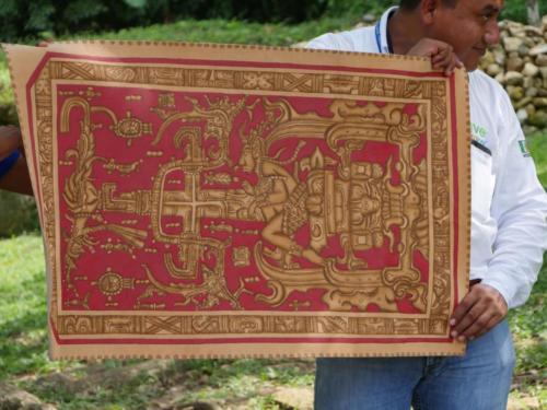 Copie d'un dessin Maya, site Palenque, Chiapas