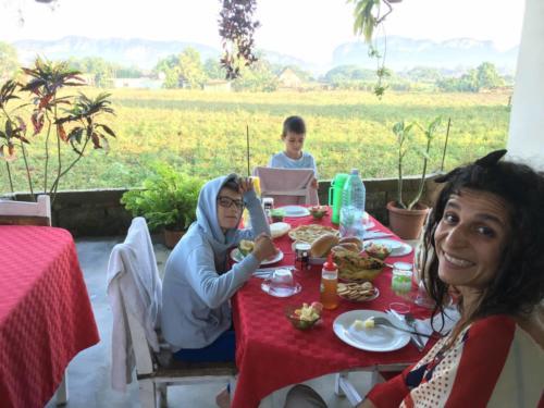Petit déjeuner chez Mario et Marizta, à Vinales