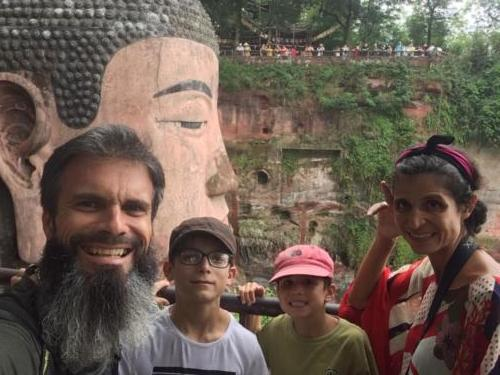 With the giant buddha